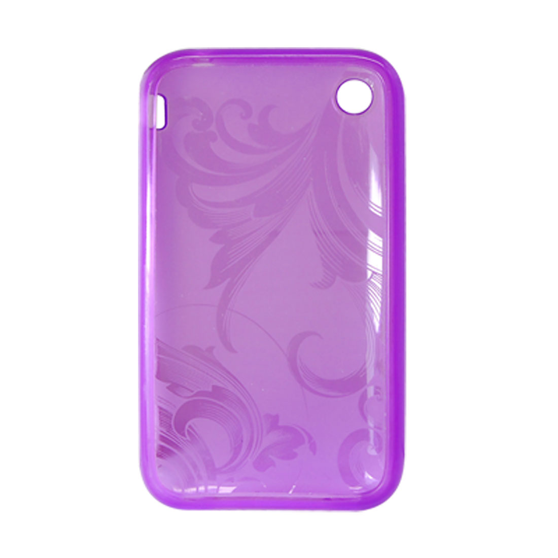 Flower Design Soft Plastic Case Cover Purple for Apple iPhone 3G