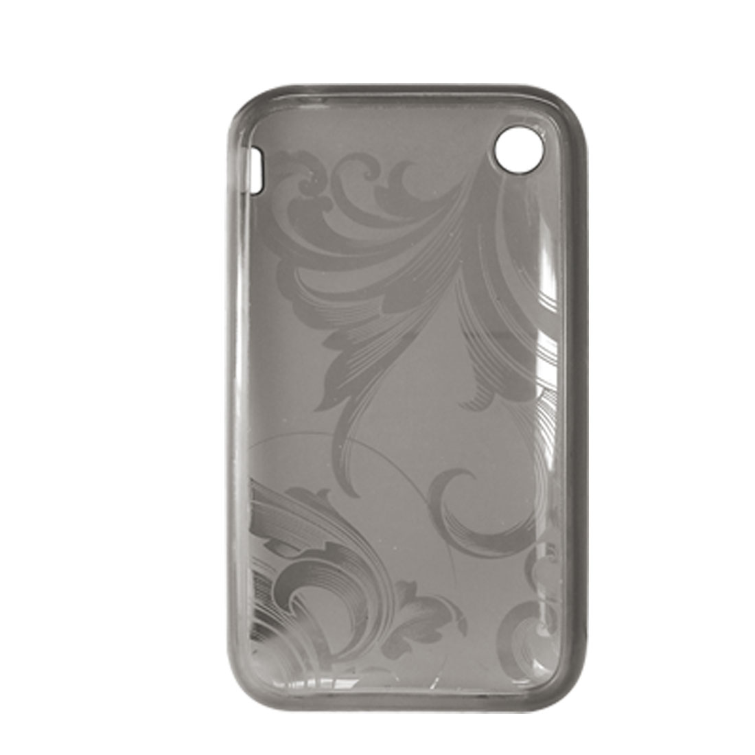 Flower Design Soft Plastic Case Grey Cover for Apple iPhone 3G