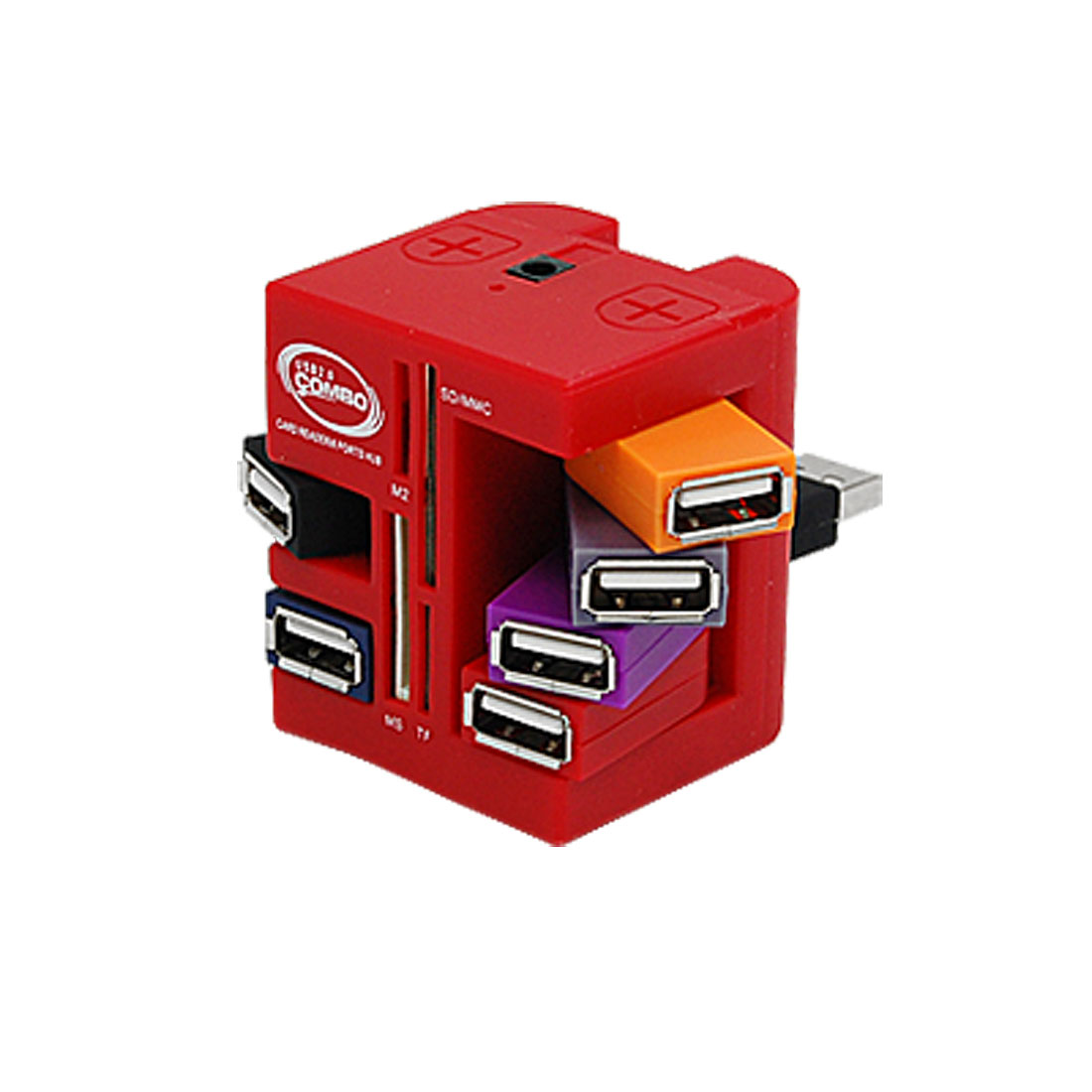 Red USB 2.0 Hub 6 Ports Combo MS M2 TF SD Card Reader