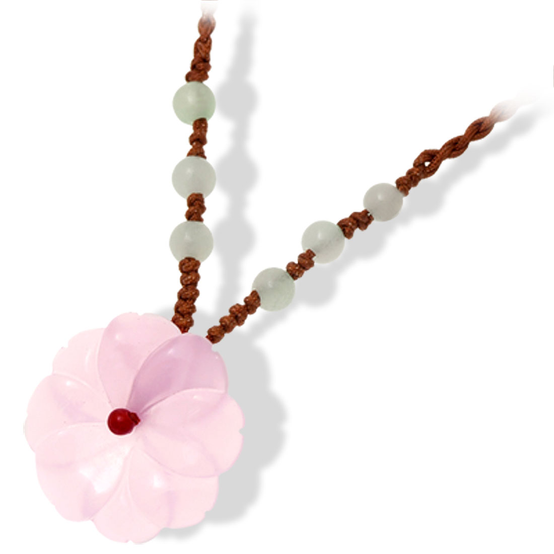 Pink Beautiful Flower Pendant Brown Braid Cord Ladies Necklace