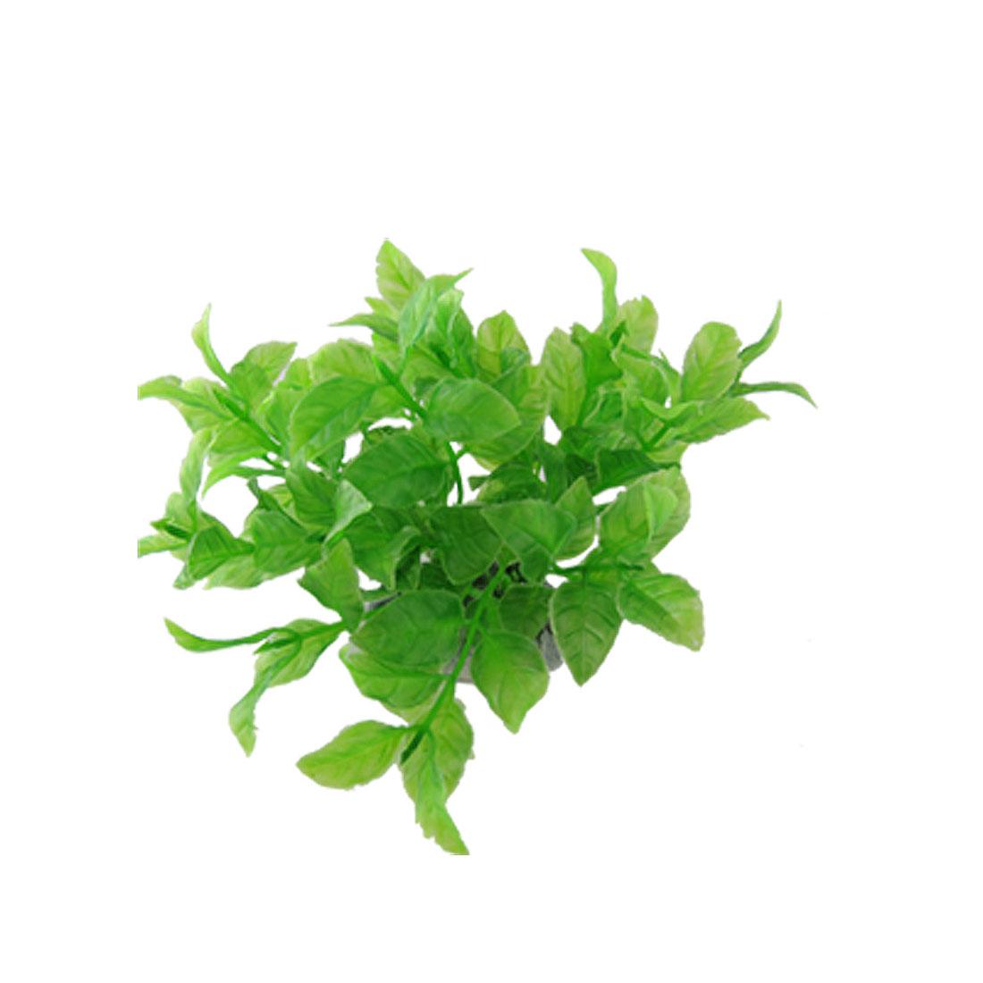 Green Plastic Aqurium Plants Fish Tank Ornament w. Base