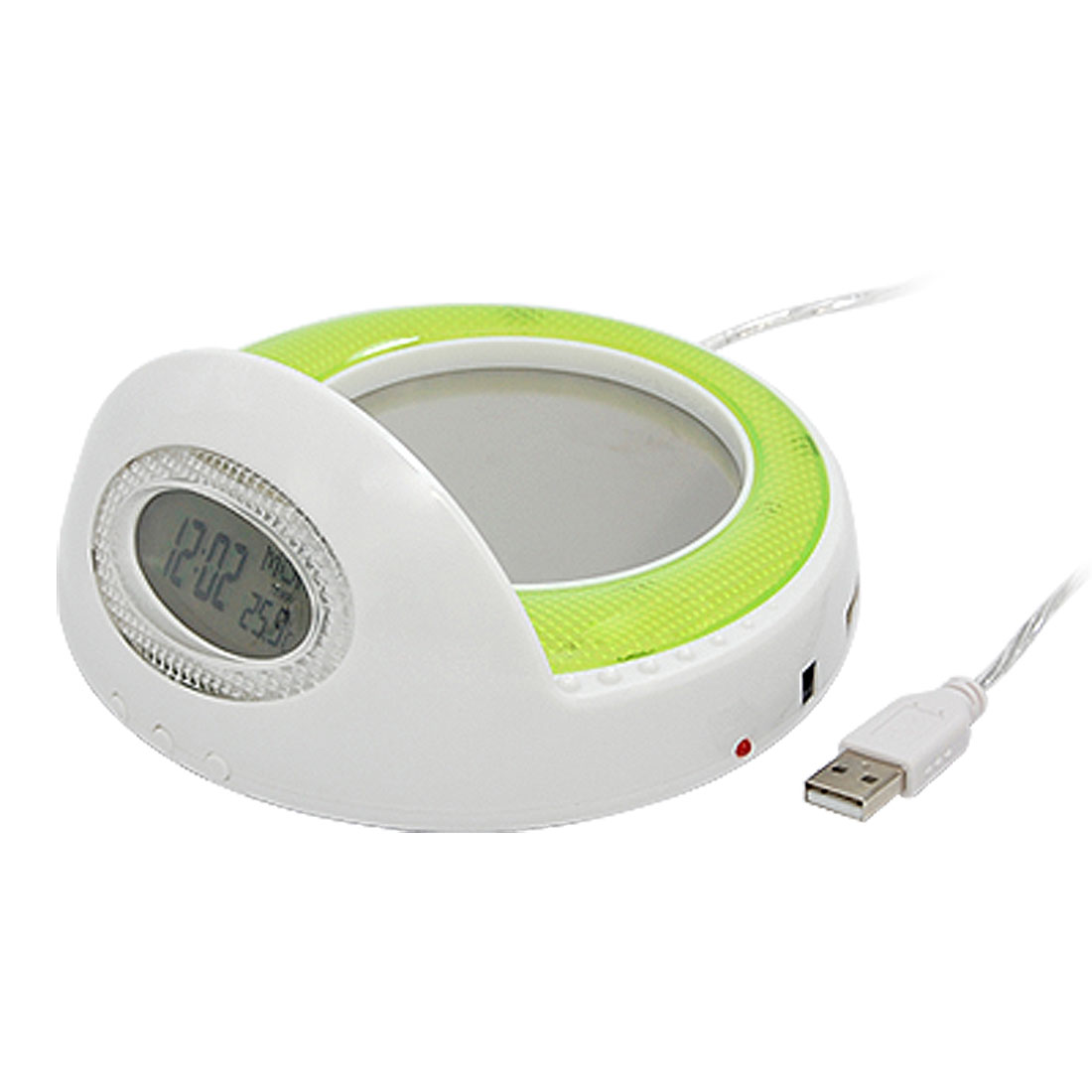 Green White USB Cup Coffee Warmer Heater with Clock