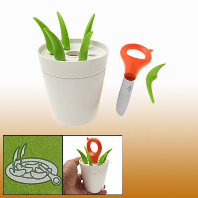 Potted Plant Style Plastic Fruit Cutter Forks Prongs Set