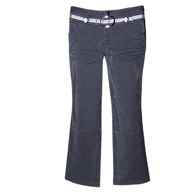 Women Zip Fly High Waist Flare Denim Pants w Belt Blue S