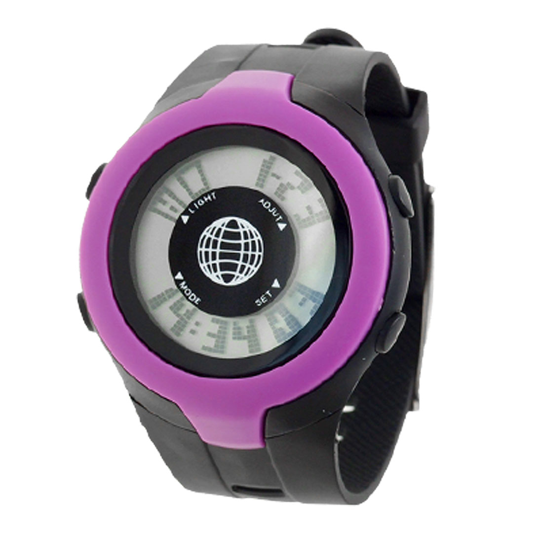 Black & Purple Round Dial Plastic Sports Digital Watch