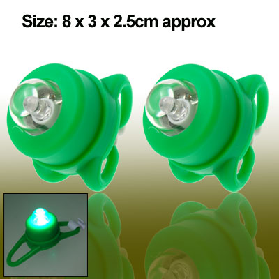 Bicycle Bike Head Pair Green LED Rear Light