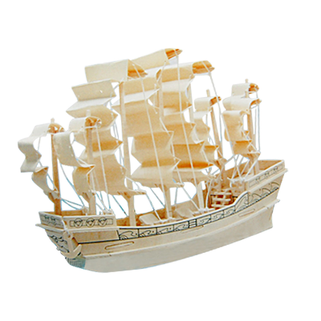 Ancient Sailboat Puzzle Toy Model Woodcraft Construction Kit