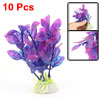 Ceramic Base Plastic Plant Aquarium Purple Grass 10pcs