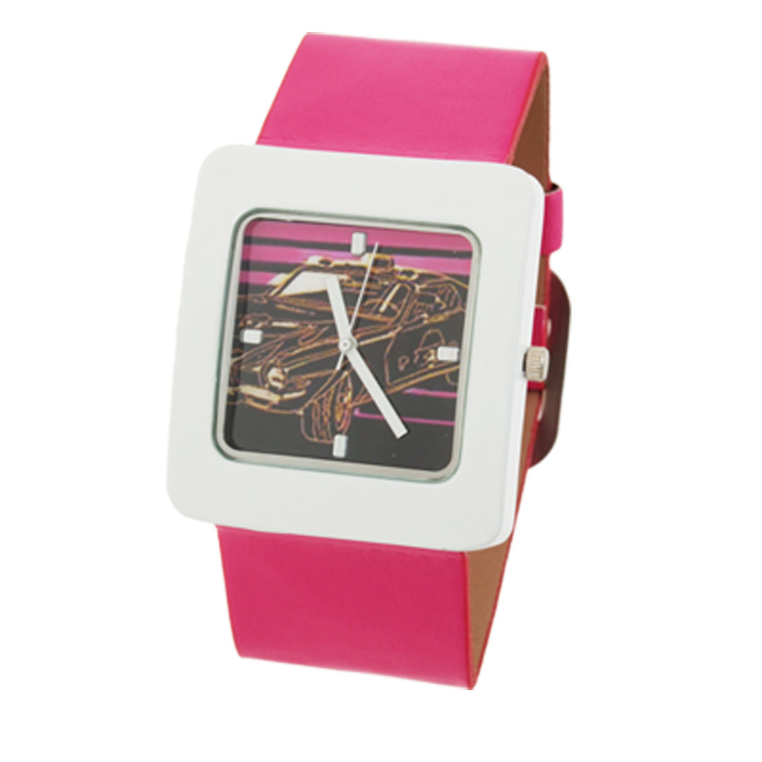 Wide Leather Band Square Case Ladies' Sports Leisure Watch