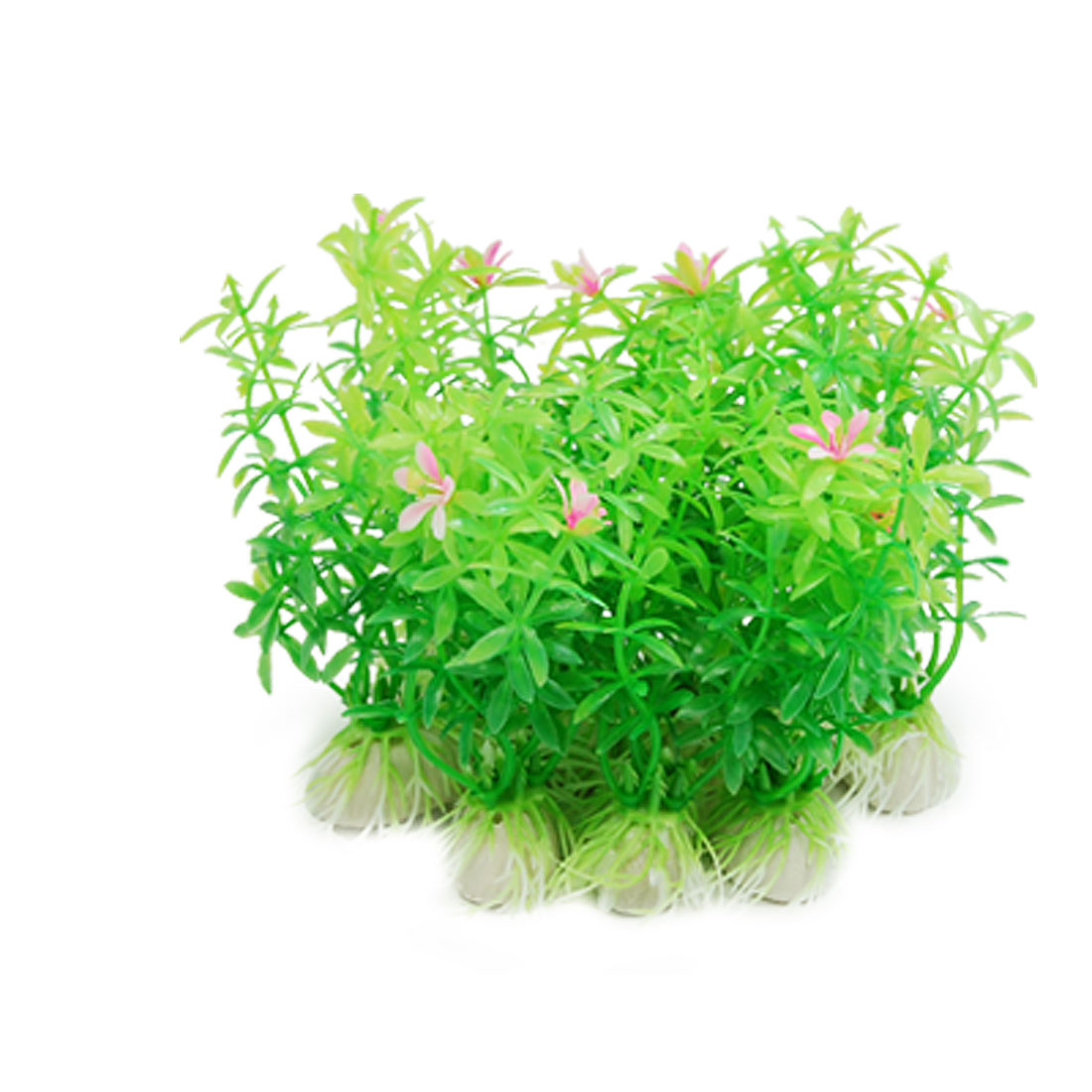 Green Plastic Plants Green with Flowers for Aquarium Fish Tank
