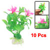 10pcs Green Plastic Plants Flowers Aquarium Ornament