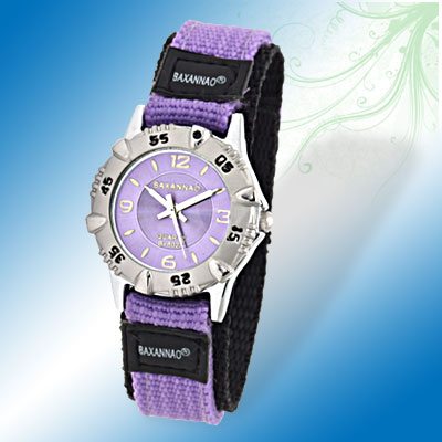 Charming Purple & Black Watchband Quartz 's Watch