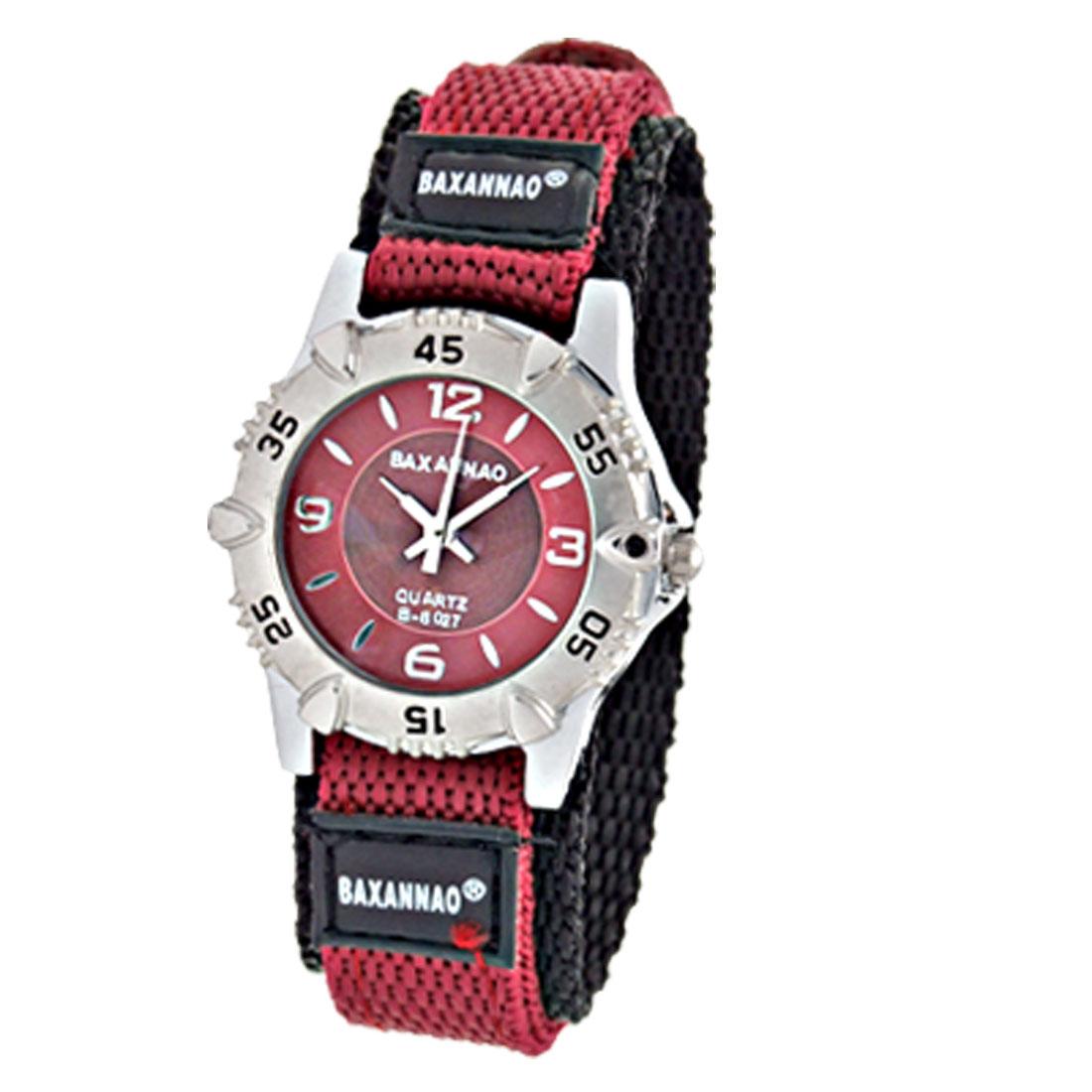 Crimson and Black Nylon Watchband 's Quartz Watch