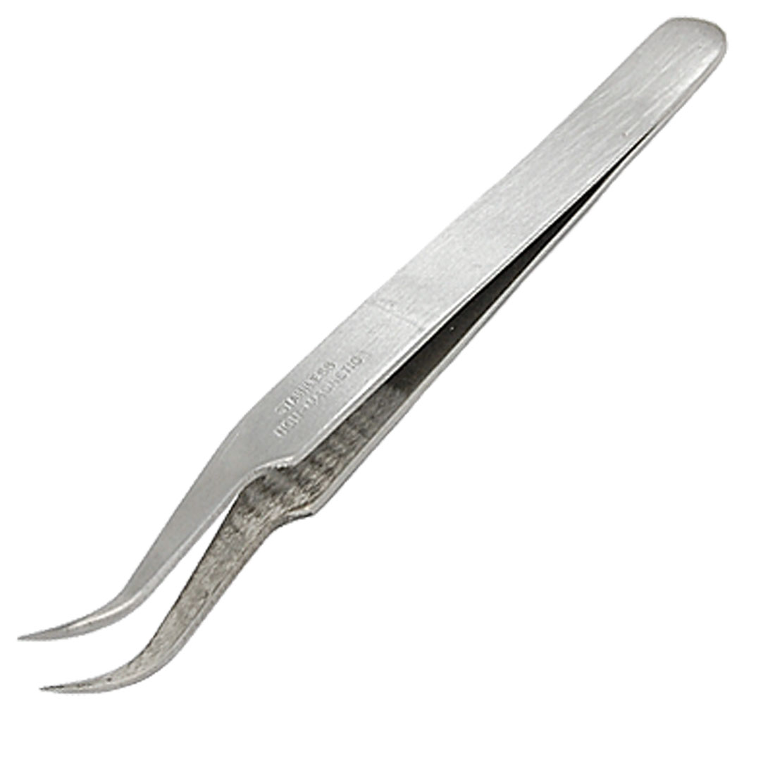 "4 1/2"" Slivery Iron Curved Tip Tweezer"