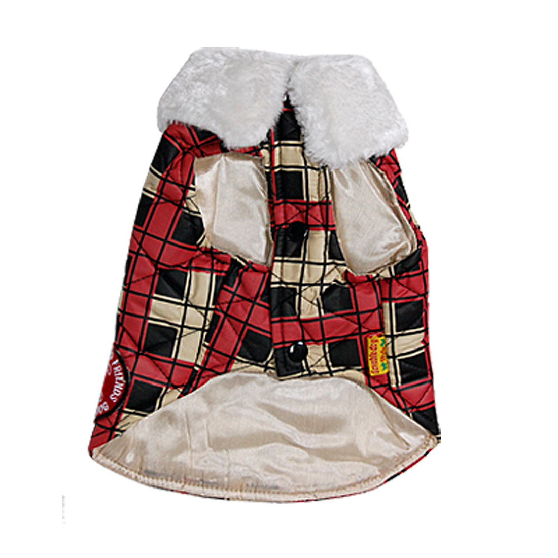 Red Check Furry Collar Winter Pet Puppy Dog Apparel Coat Jacket Vest Size 2