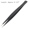 Black Metal Straight Tip Precision Tweezers Tool