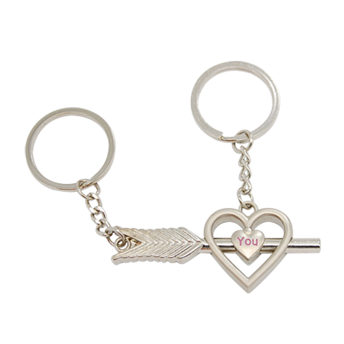 Heart with a Arrow Alloy Lovers' Couples' Keychain Ring