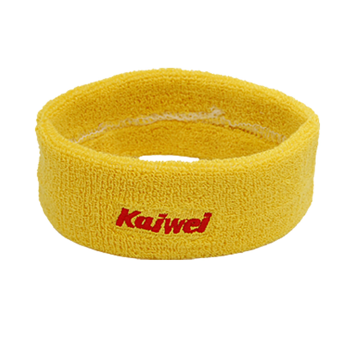 "Sports Athletic Elastic Fabric Sweat Head Band Headband 1.8"" Width Yellow"