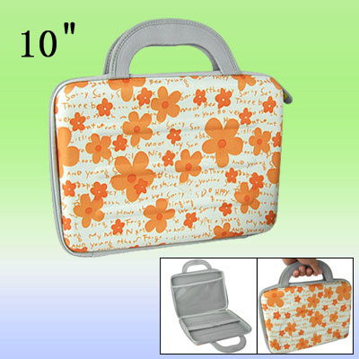"Orange Flowers Notebook Handbag 10"" Laptop Carry Case"