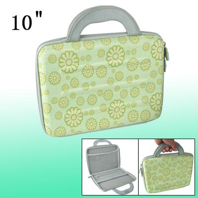 """Green Flowers Pattern Handbag 10"""" Notebook Carry Case"""
