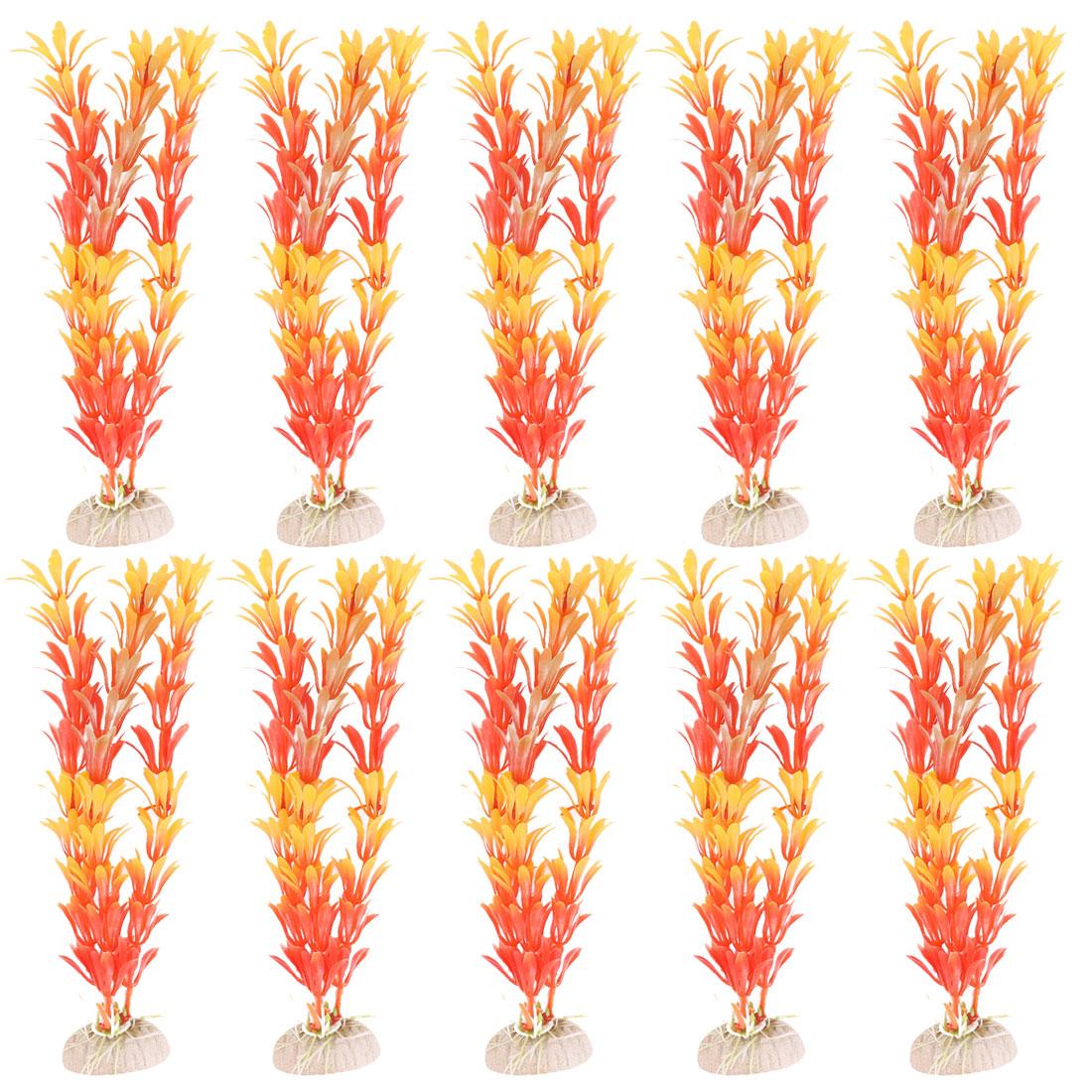 Orange Plastic Aquarium Tank Plants Decoration Grass x 10