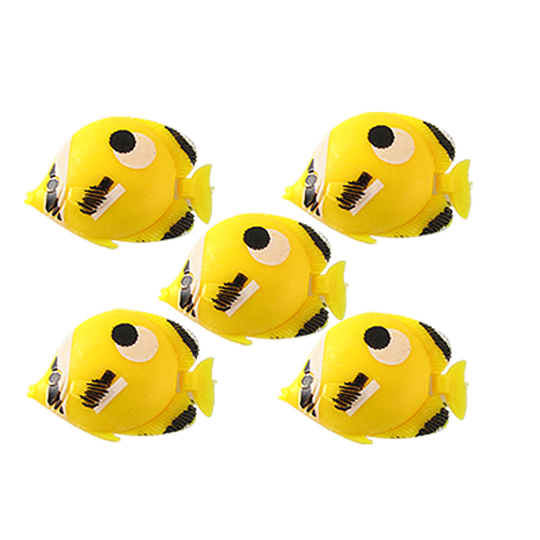 5 x Yellow Mini Floating Plastic Fish Aquarium Ornament