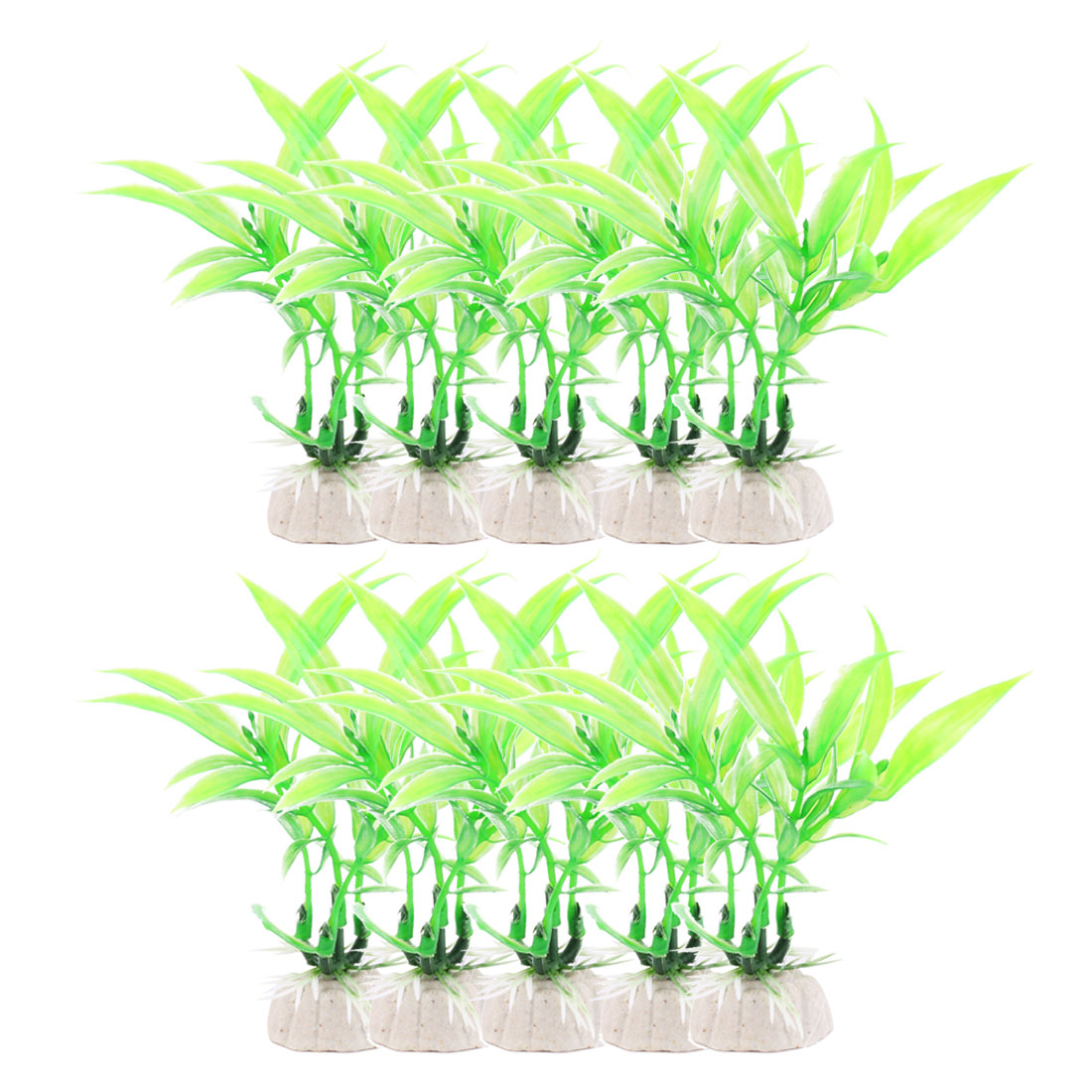 10 pcs Aqua Landscape Green Plastic Aquarium Plants Betta Fish Tank Ornament