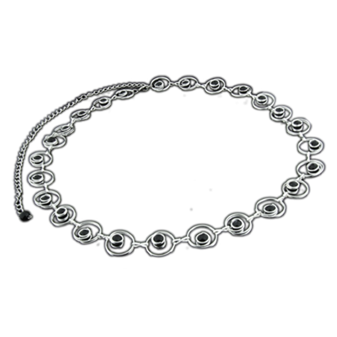 Stylish Fashion Circles Link with Black Beads Decor Ladies Belt Chain