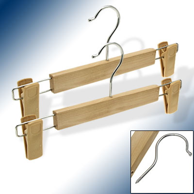 Home Wooden Anti-slip Clothes Trousers Pants Skirts Hangers 2 Pcs