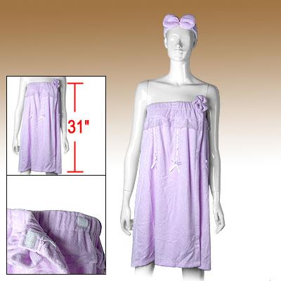 Purple Bath Shower Wrap Bathrobe Lady's Lace Washcloths w Headband