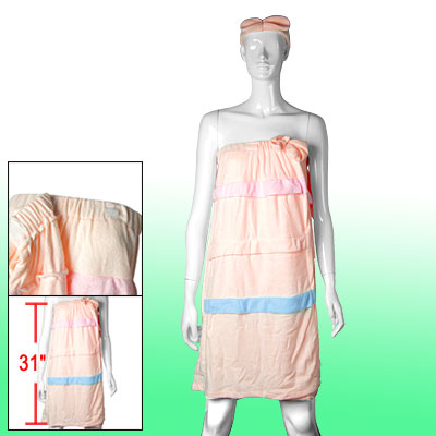 Lady's Terry Towel Cotton Bath Wraps Bathrobe w. Shower Headband