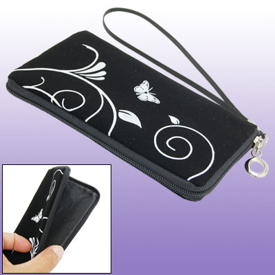 Black Purse Bag Pouch with Hand Strap for Cell Phone iPhone 3G