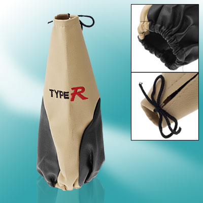 Car Faux Leather Gear Boot Shift Knob Cover Khaki Black