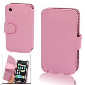 Stylish Pink Faux Leather Cover Case for iPhone 3G
