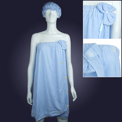 Strapless Elastic Blue Softness Ladies' Shower Towel Bath Wrap