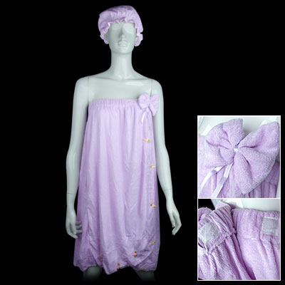 Flower Decor Purple Strapless Elastic Ladies' Bath Shower Wrap