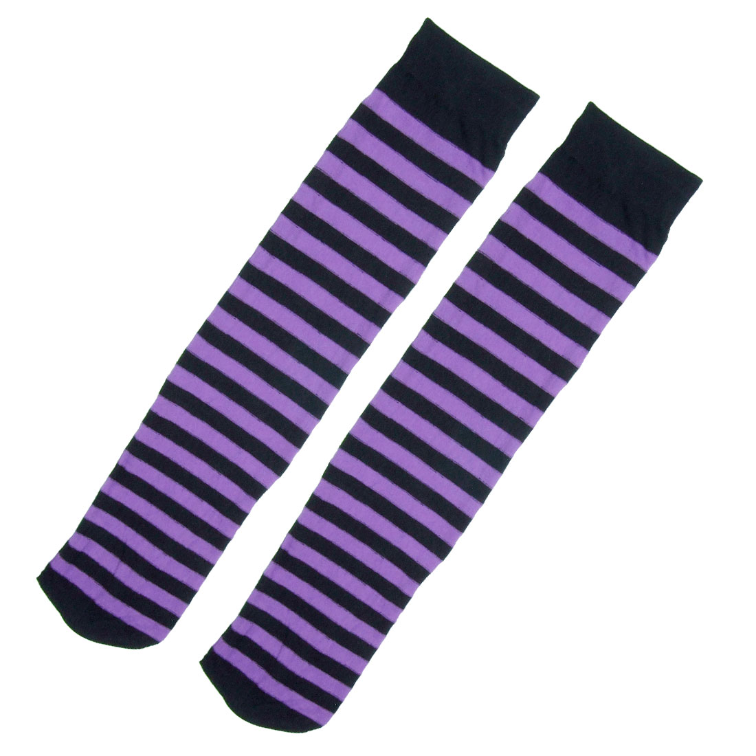 Stripe Style Fashion Close-fiting Knee High Socks Black & Purple