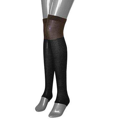 Toeless Socks Leggings Women Over Knee-high Stockings Black Coffee