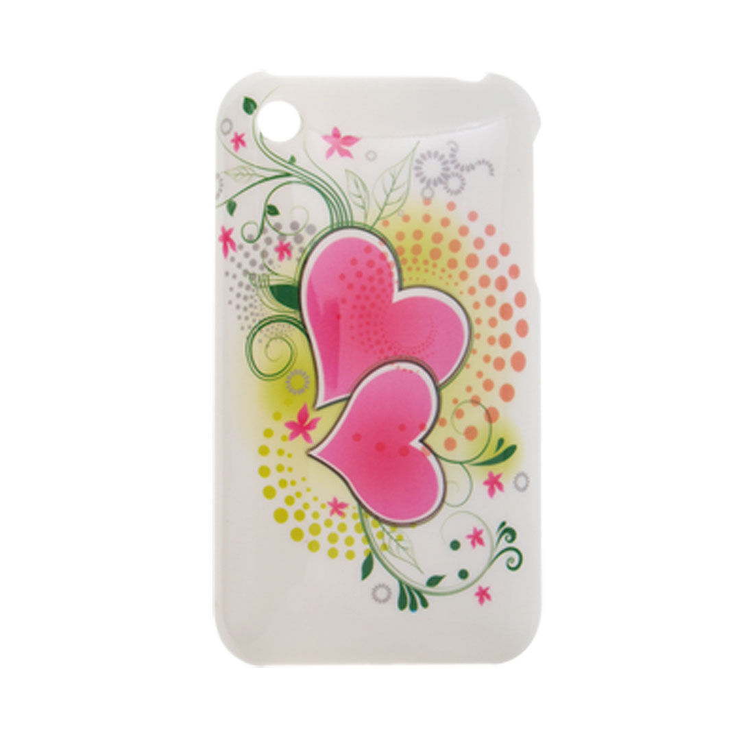 Plastic Protective Cover w. Heart Pattern Back Case for iPhone 3G