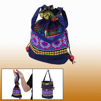 Drawstring Embroidery Fabric Pouch Handbag Hand Bag