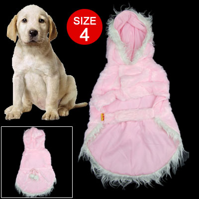 Hooded Pink Color Beautiful Size 4 Dog Pet Clothes Apparel