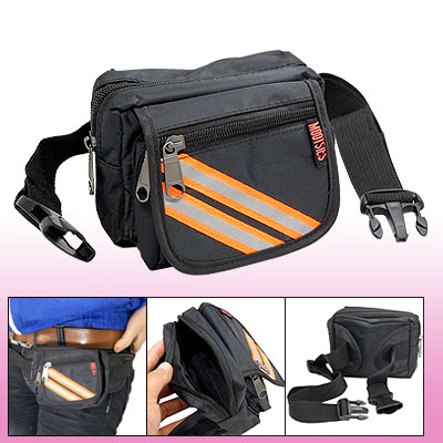 Black Leisure Waist Hip Pack Bag W/4 Compartments