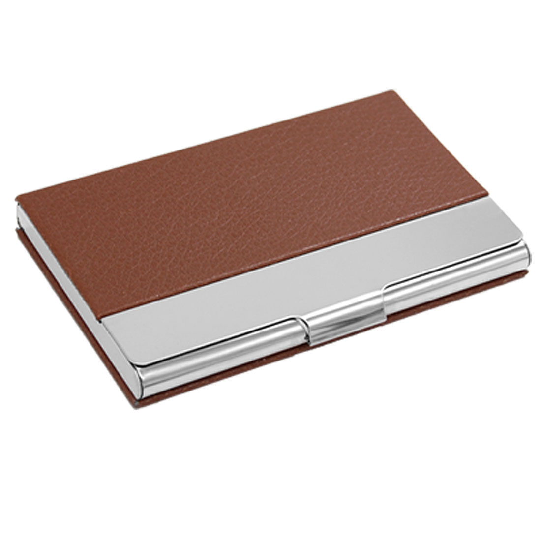 Metal Frame Business ID Card Holder Case Brown Silvery