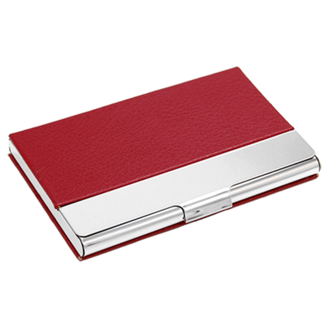 Metal Frame Business Credit Card Case Red Silver Tone