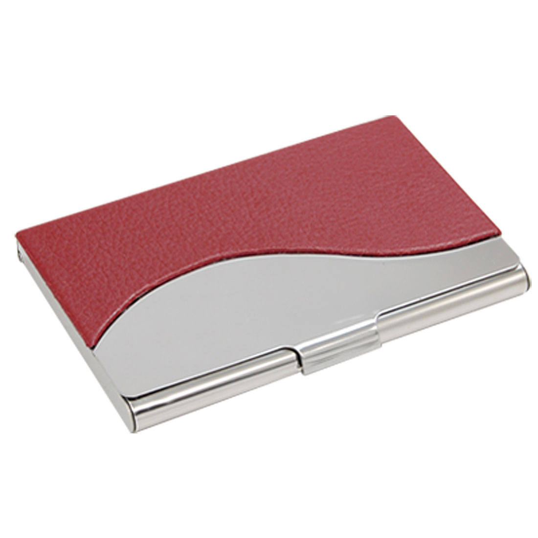 Red Silvery Name Business Credit Card Holder Case Organizer