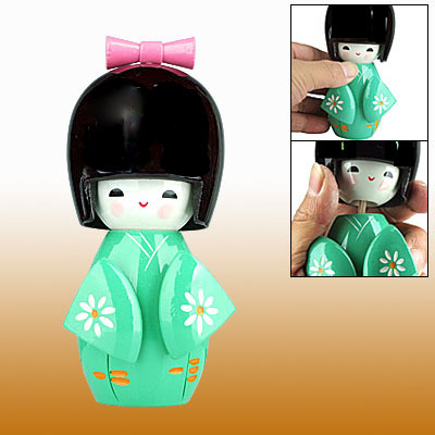 Japanese Kokeshi Wooden Doll Ornament with Green Kimono