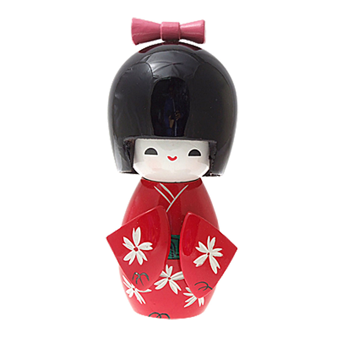 Red Kimono Decorative Japanese Kokeshi Wooden Doll