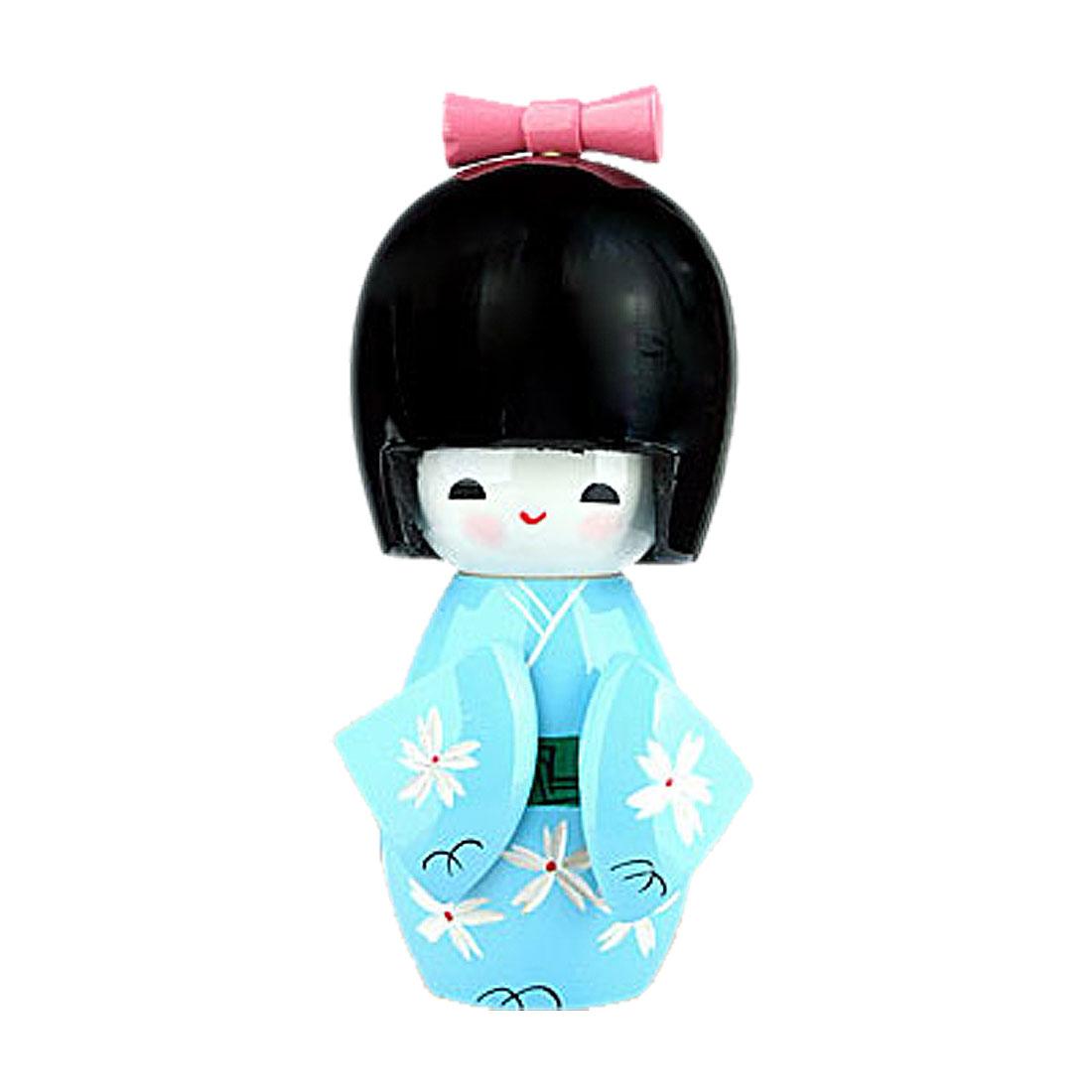 Decorative Wooden Japanese Kokeshi Doll Baby Blue Kimono