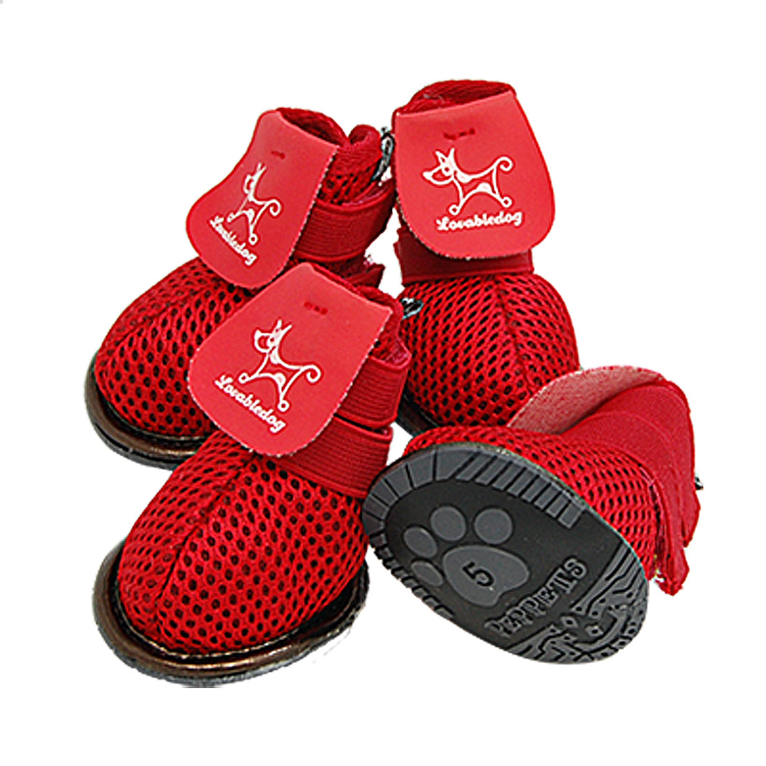 Protective Dog Shoes Red Puppy Pet Boots Booties Size 5