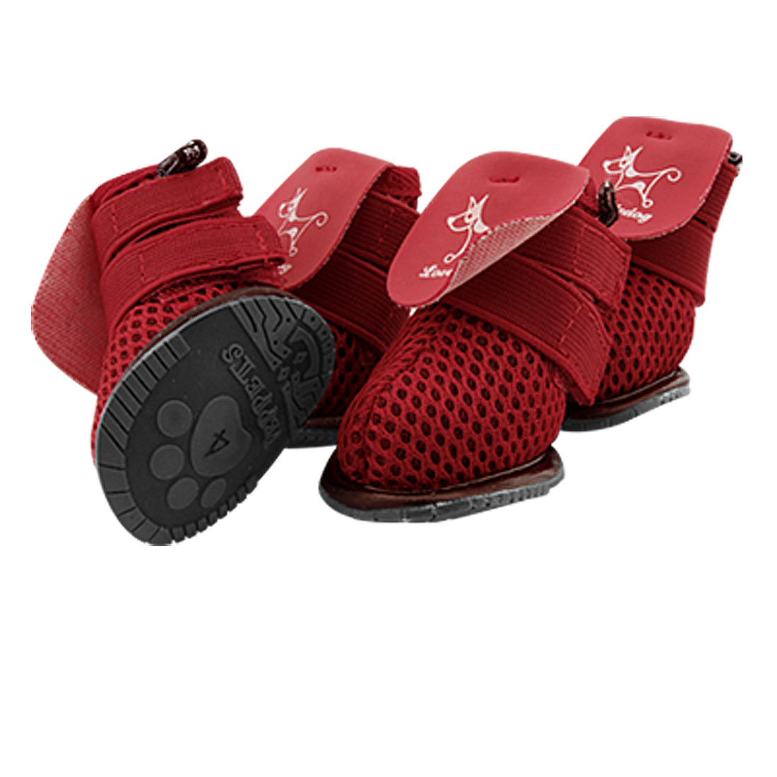 Red Protective Dog Shoes Puppy Mesh Boots Booties Size 4
